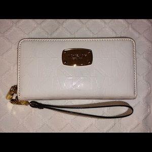MK White Wallet Wristlet